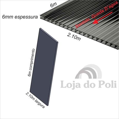 chapa policarbonato alveolar cristal / incolor 6mm 2,1x6,0m