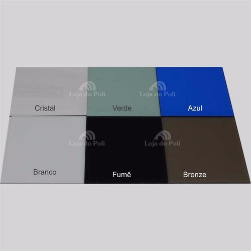 chapa policarbonato compacto cristal/incolor 2mm 2,0x2,0m