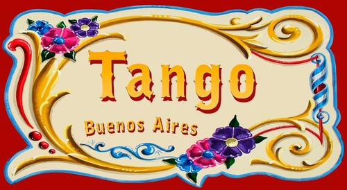 chapa retro vintage filete - tango buenos aires - 25 x 15 cm