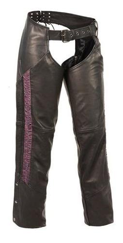 chaparrera milwaukee para mujer de cuero c/franja purple 5xl