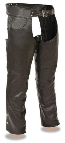 chaparreras milwaukee de cuero negro c/bolsillos de jean 3xl