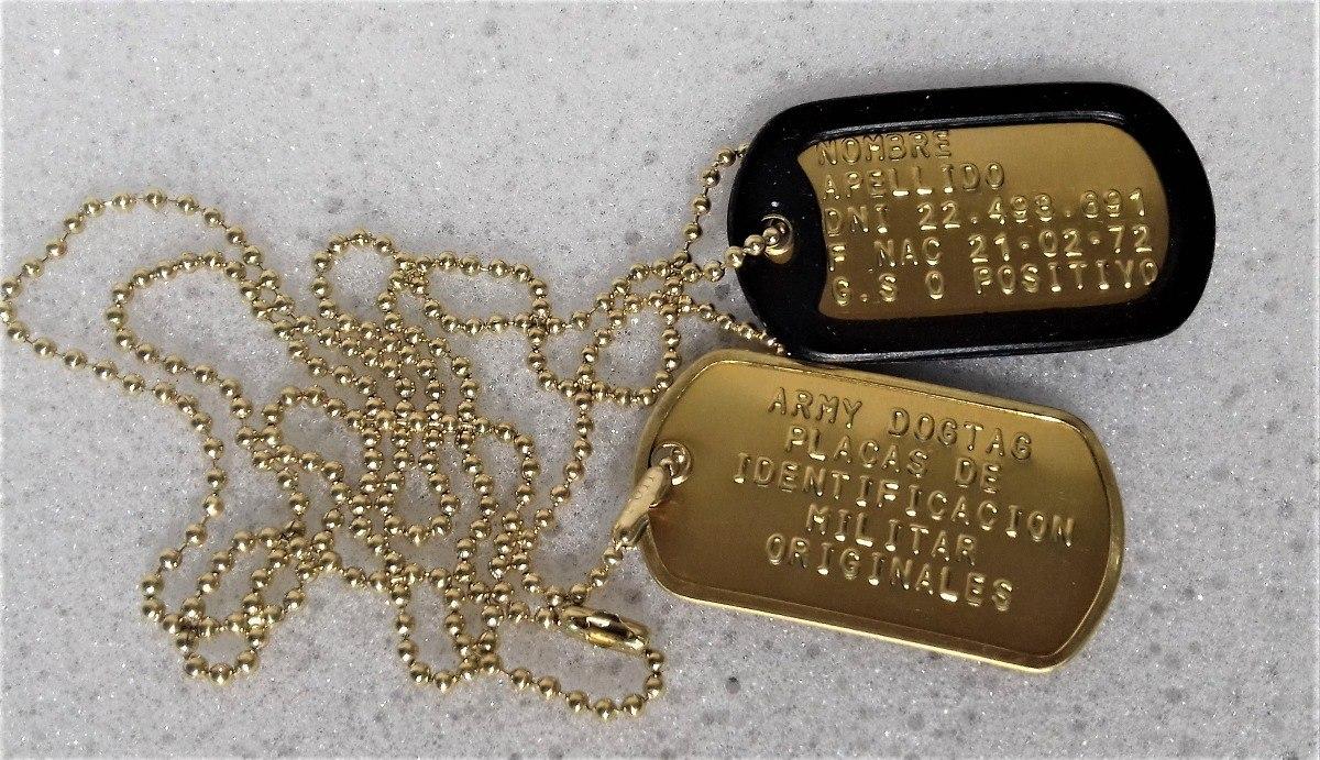 5ef43e441043 chapas de identificacion militar doradas dog tags usa. Cargando zoom.