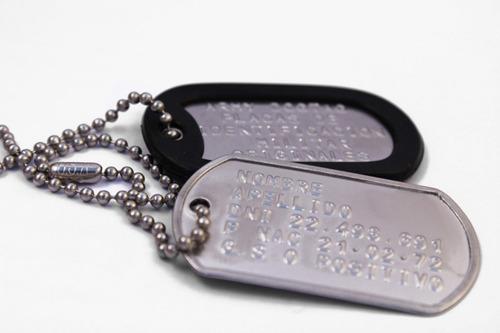 chapas de identificación militar (grabadas) dog tags
