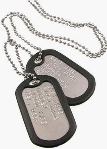 chapas de vida militares reglamentarias dog tags acero inox.