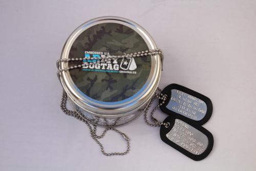 chapas identificacion dog tags originales usa lata regalo