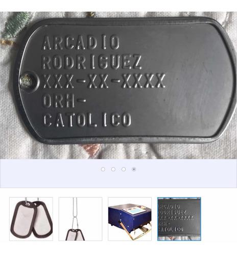 chapas militares con cadena y gomas