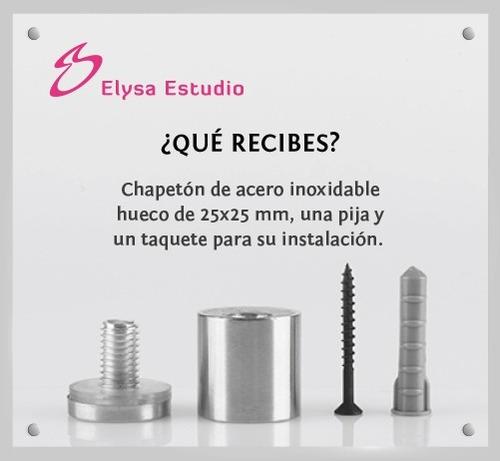 chapetones, separadores de acero inoxidable 25x25mm