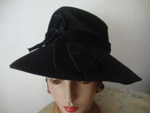 chapéu antigo feltro decada de 50 preto