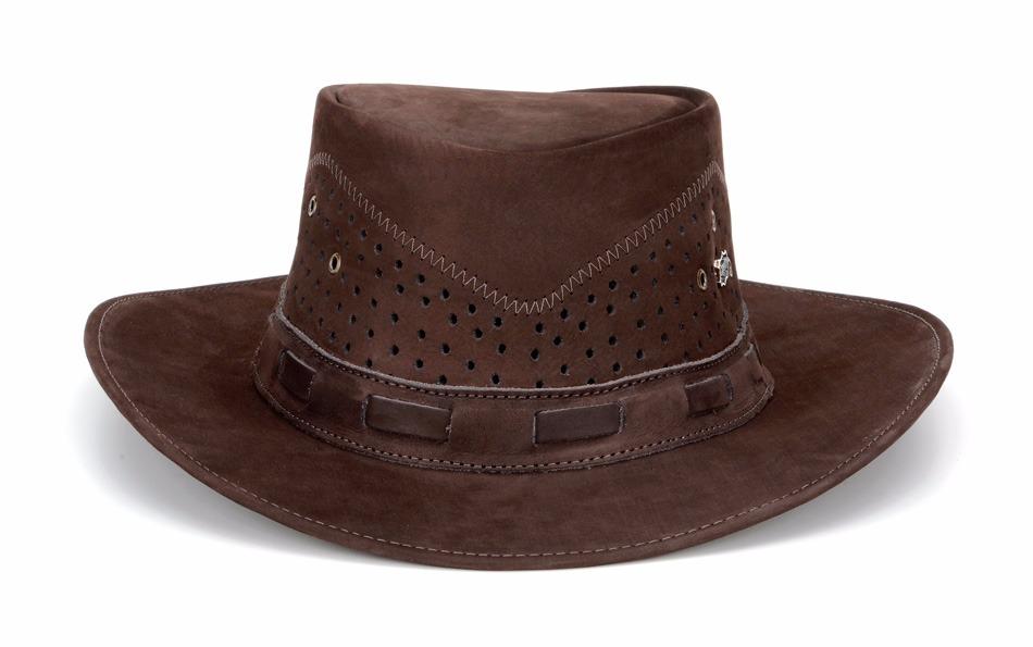 chapeu australiano masculino em couro legítimo cor café. Carregando zoom. 04cb707532e