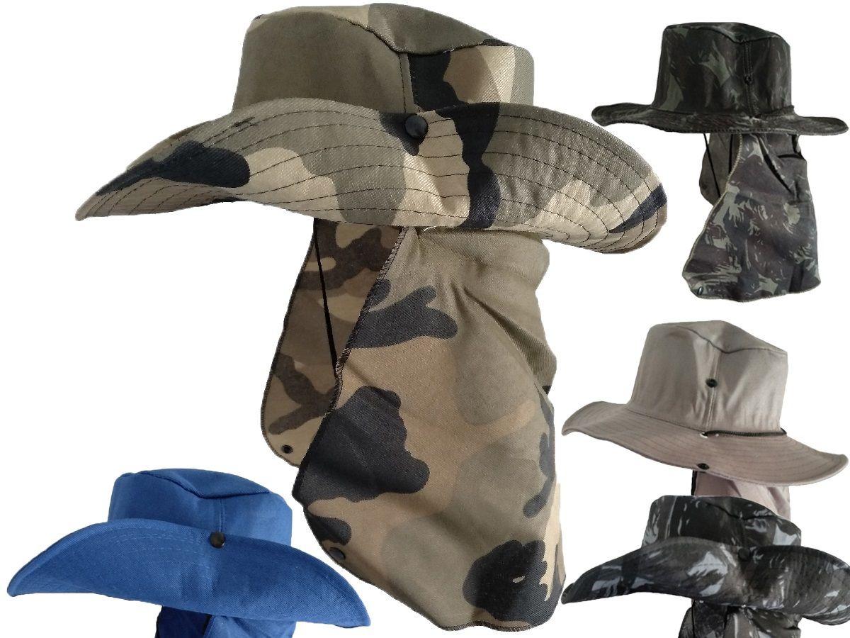 c4fb4886a0710 chapeu camuflado pescador com protetor nuca compre já. Carregando zoom.
