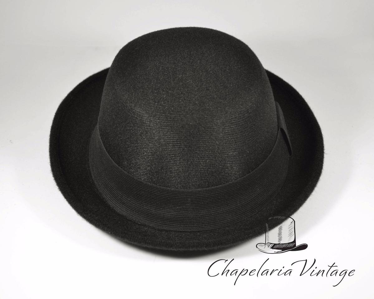 Chapéu Coco Preto Bowler Chaplin Lã Retro Qualidade Top - R  84 a92e8d82271