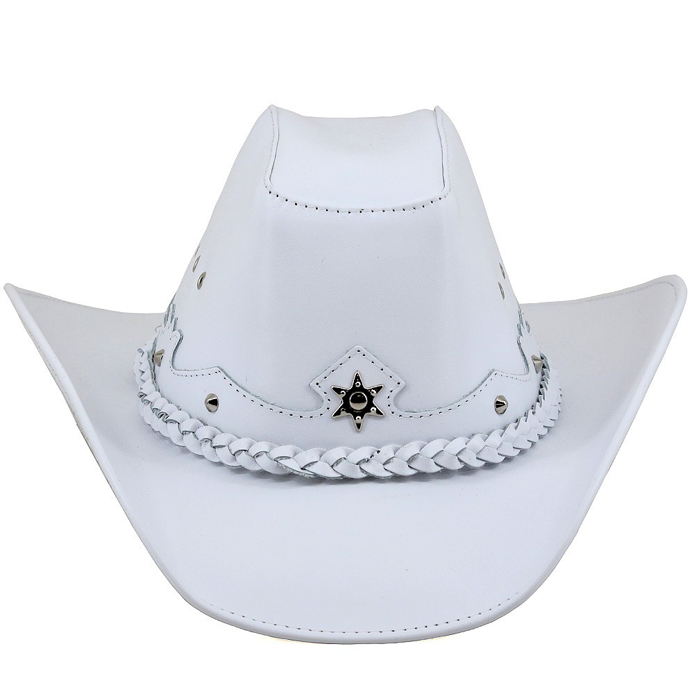 f6050bd580753 chapéu country branco moderno texano boiadeiro couro legítim. Carregando  zoom.