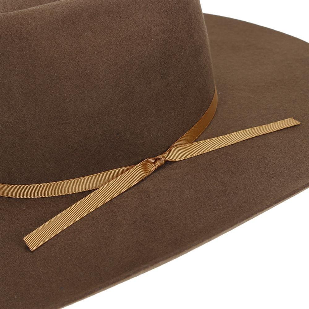 chapéu country feltro marrom bandinha de fita dourada texas. Carregando  zoom. 12b7f3a0a69