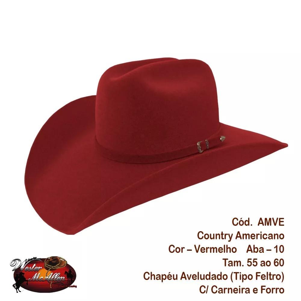 chapéu country vermelho feminino masculino rodeio festa show. Carregando  zoom. 272e5079d03
