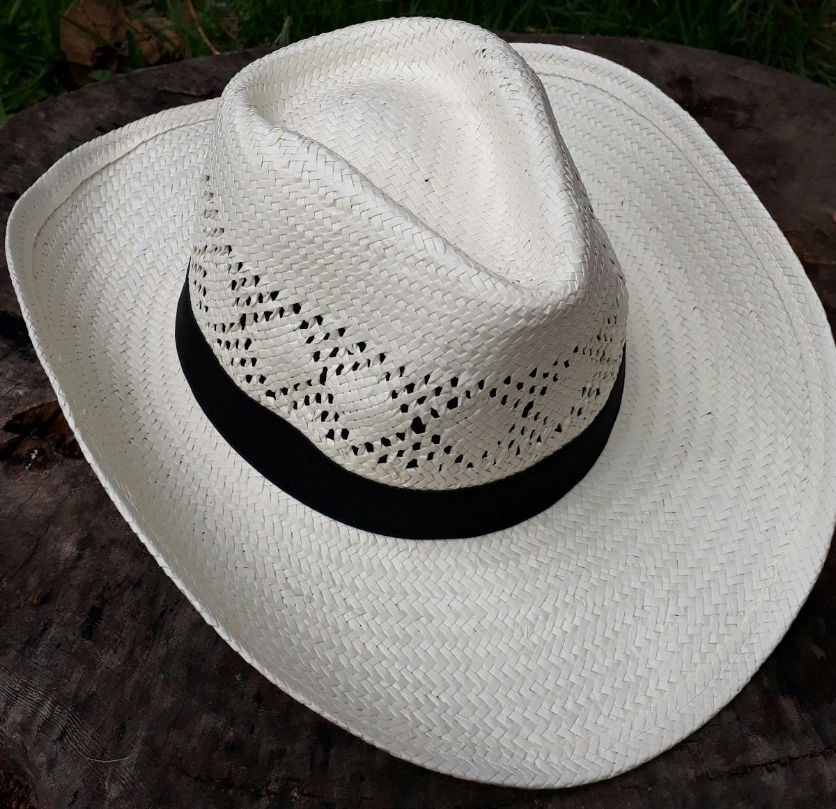 chapéu cowboy country aba grande palha faixa preta. Carregando zoom. aa90b698a29
