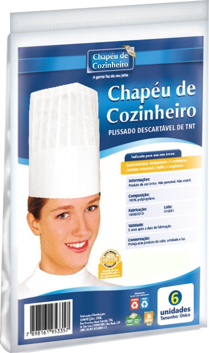 9c239b661234f Chapéu De Cozinheiro Descartável - Embalagem Com 6 Unidades - R  18 ...
