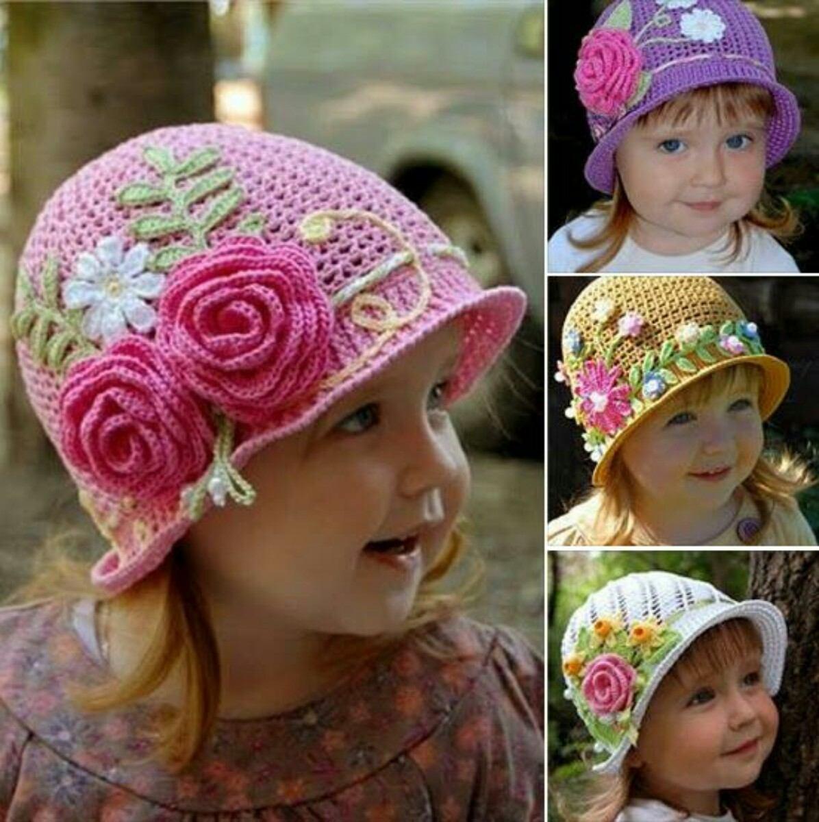 Chapéu De Croche Com Flores E Aplicações - R  120 3ed74a68365