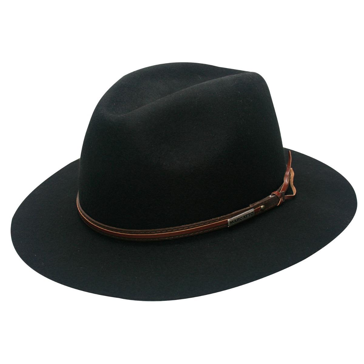 chapéu de feltro preto outback explorer marcatto-tamanho 57. Carregando zoom . 7bf3dd76086