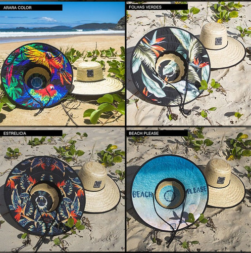 chapéu de palha praia surf sombreiro estampado