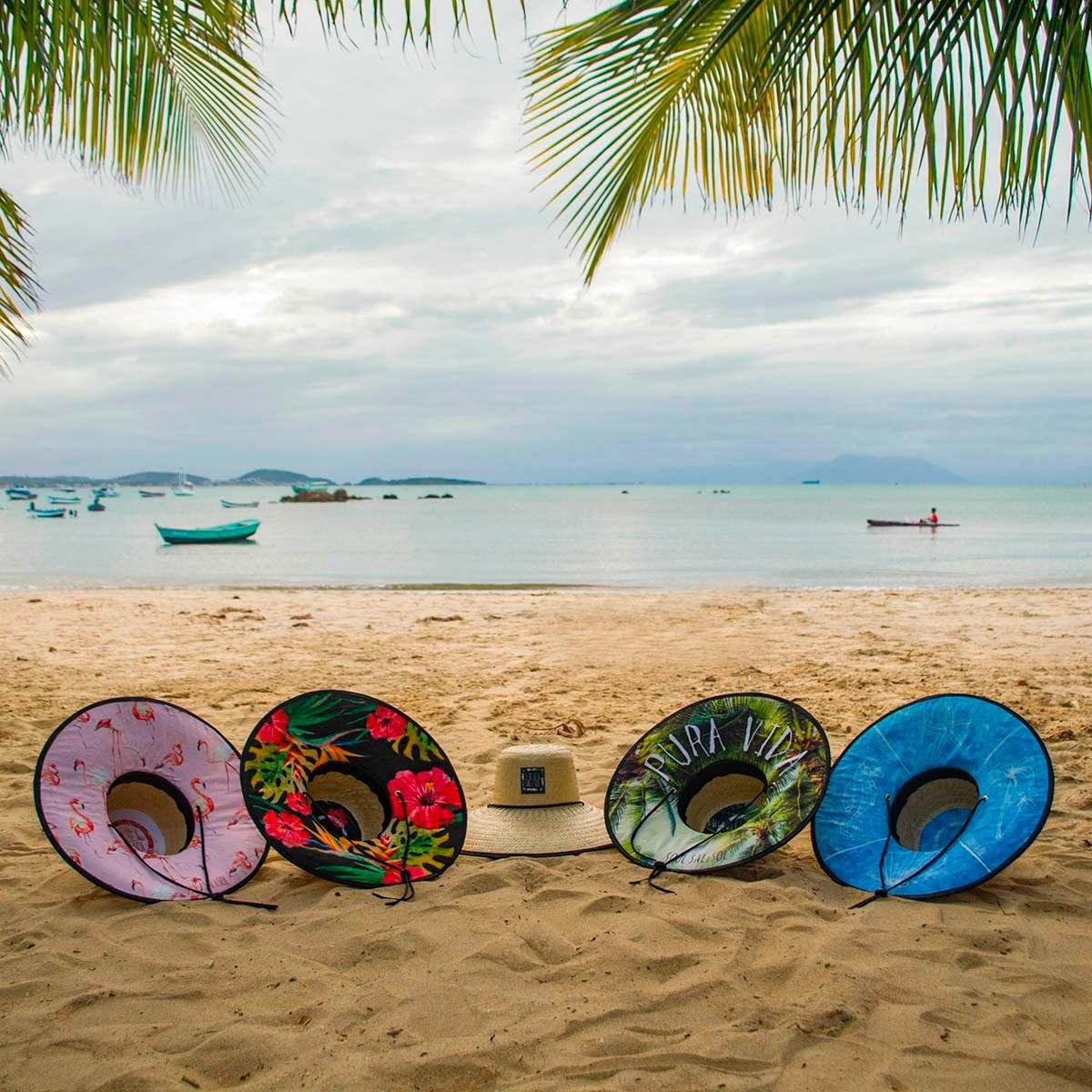 6d15b27404586 chapéu de palha surf praia estampado - folhas verdes. Carregando zoom.