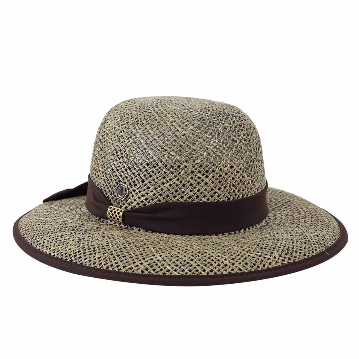 chapéu de praia feminino palha aba larga marrom. Carregando zoom. b789fe594e4
