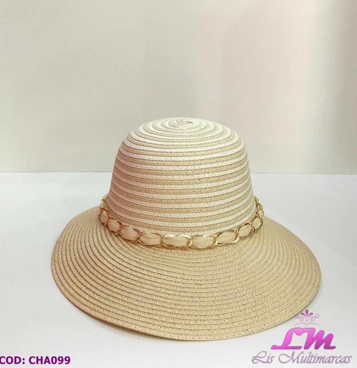 Chapéu De Praia Floppy Palha Com Laço E Detalhe Dourado - R  38 a9f379baa2f