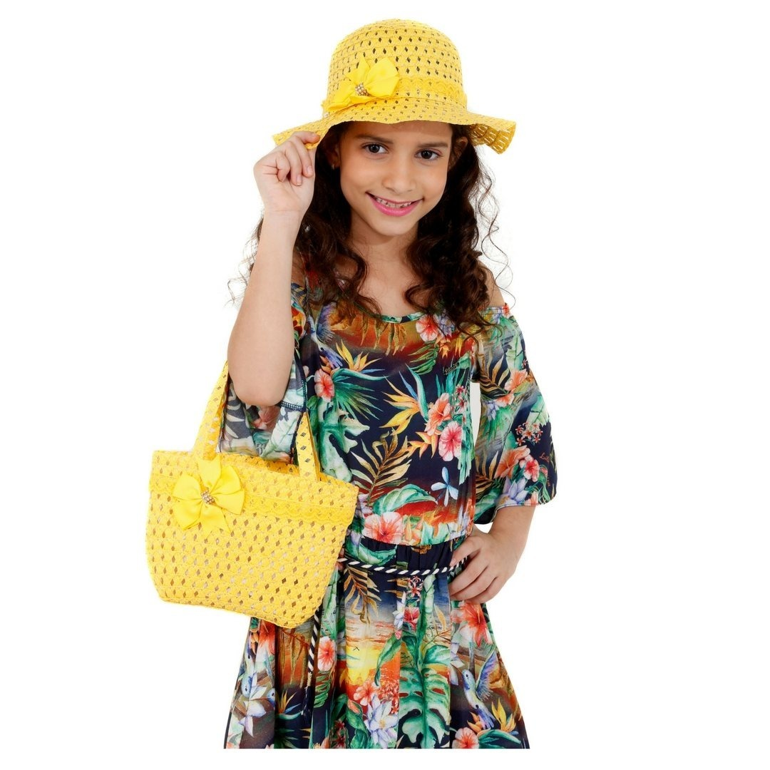 chapéu de praia infantil e bolsa de praia para meninas. Carregando zoom. f4017b5236e