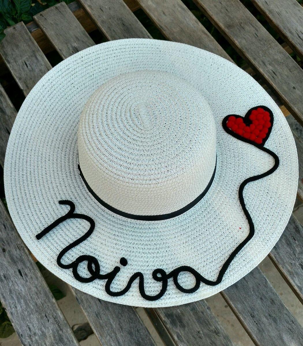 chapéu de praia personalizado com nome e pompons. Carregando zoom. 6942870da89