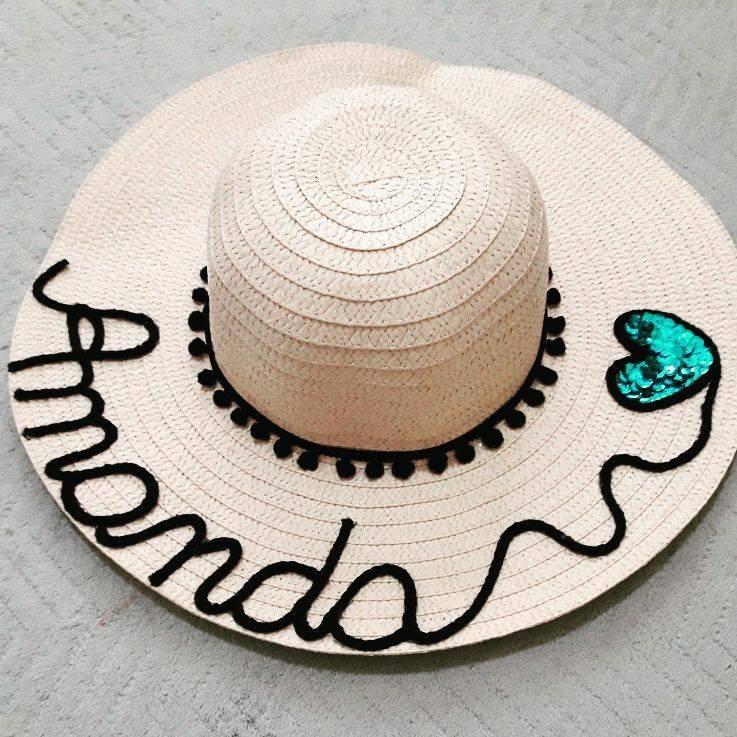 Chapéu De Praia Personalizado Customizado Com Nome - R  80 5b342814b22