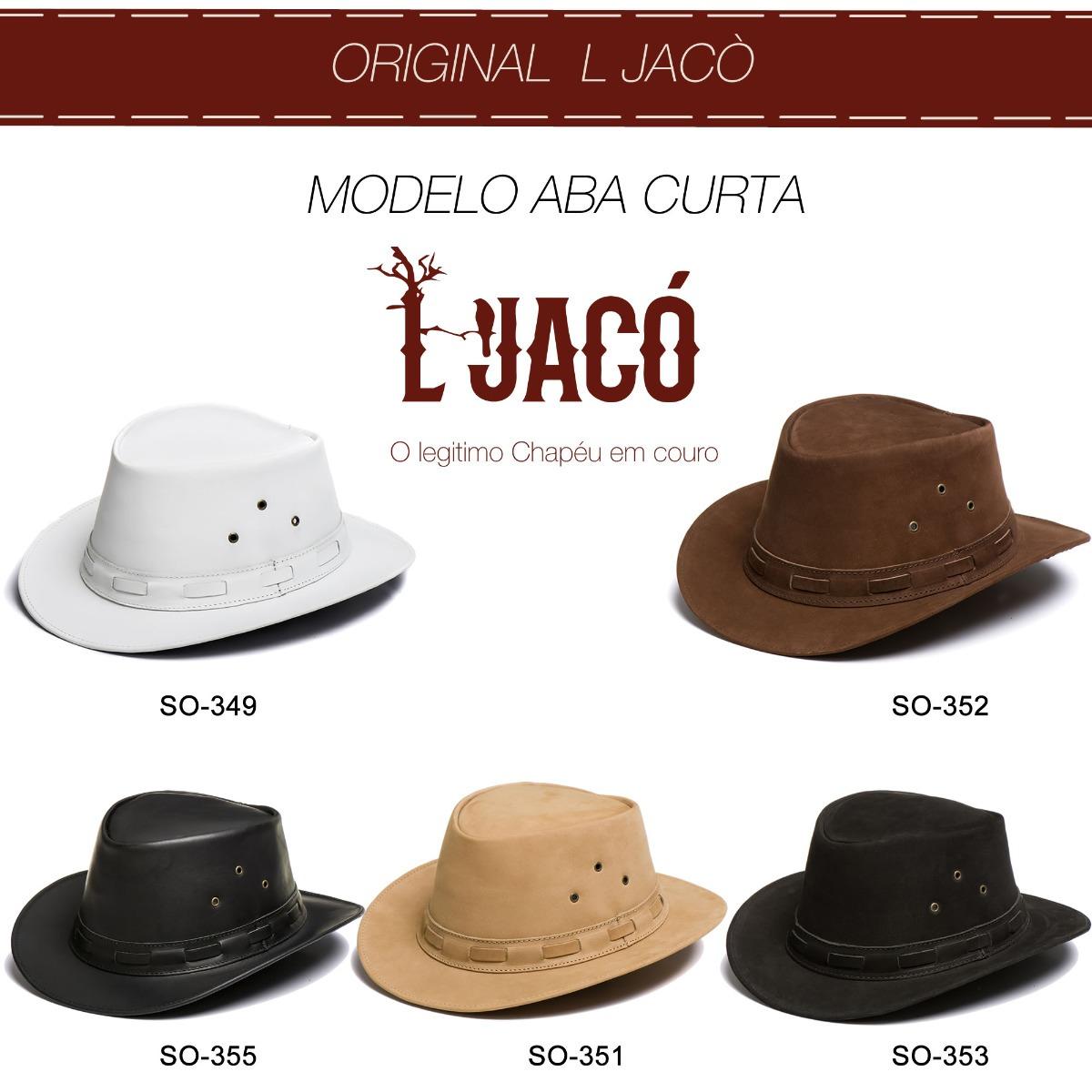 b3fe69770ac69 Chapeu Em Couro Modelo Aba Curta Preto L Jaco So-353 - R  158