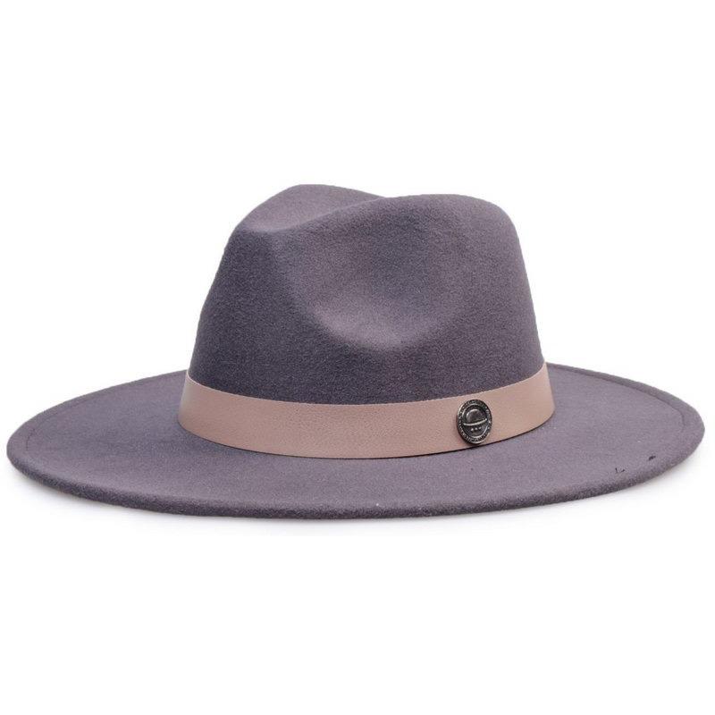 208635340da28 chapéu fedora aba 8cm cinza grafite coleção couro. Carregando zoom.