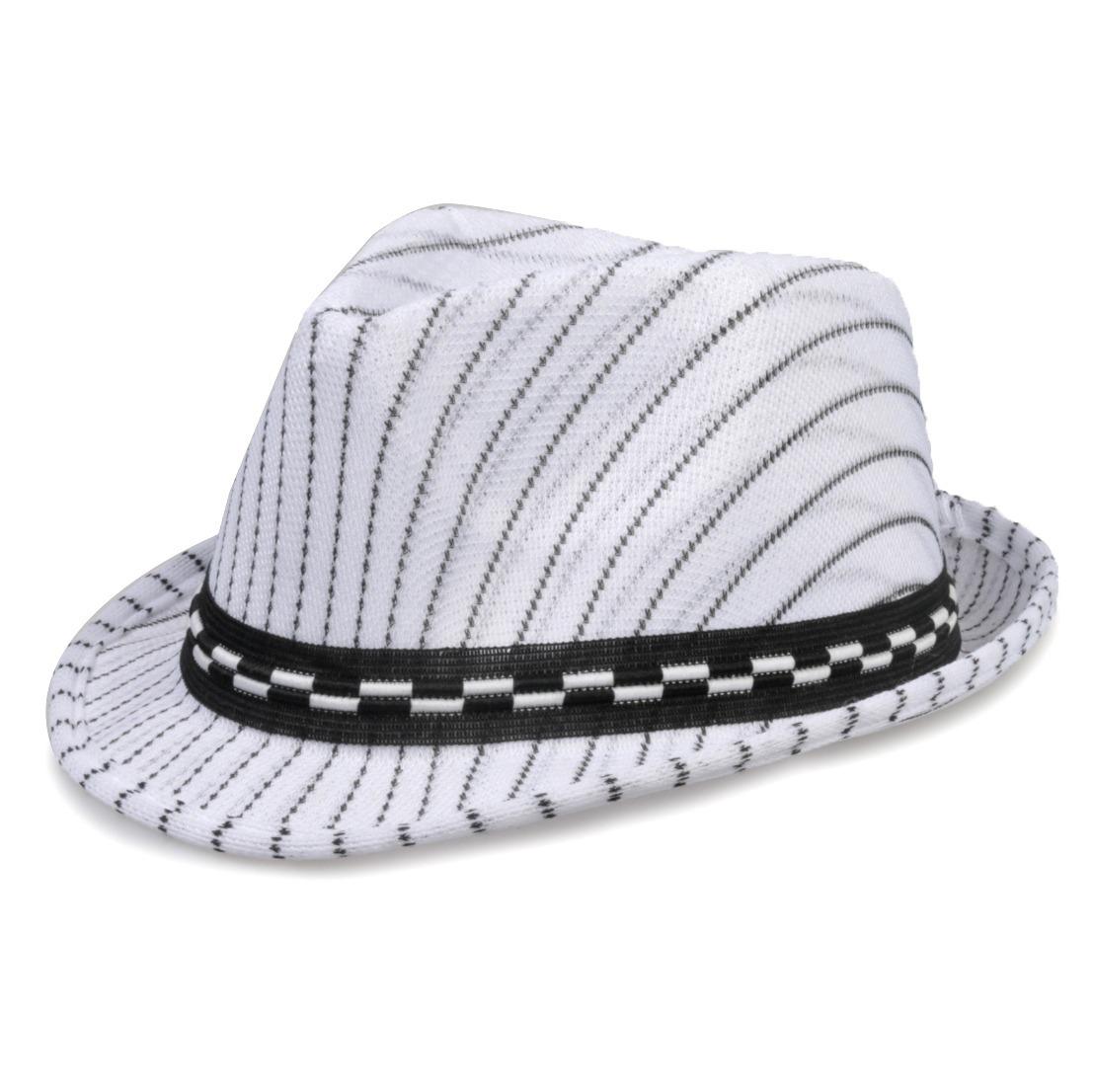 chapéu fedora aba curta infantil branco risca de giz criança. Carregando  zoom. 842efd89e53