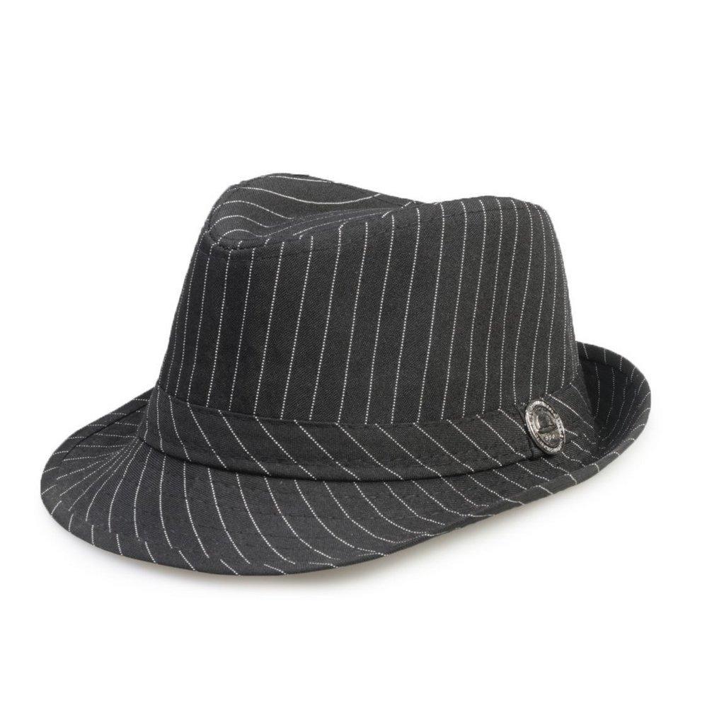 chapéu fedora aba curta infantil criança preto risca de giz. Carregando  zoom. e8a57dd0d85