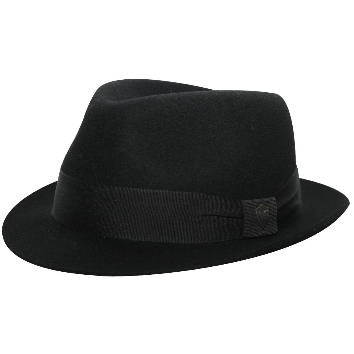 cffc02044ff31 chapéu fedora aba curta preto masculino. Carregando zoom.