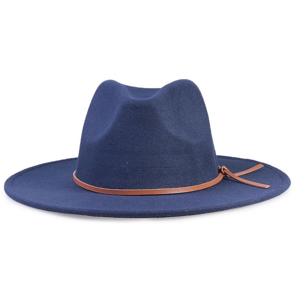 9d7ce2678f chapéu fedora azul marinho aba grande 7cm couro v caramelo. Carregando zoom.