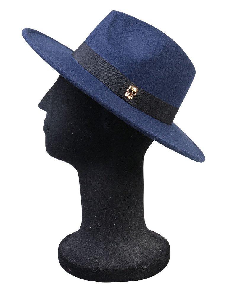 616c9a8c4b211 Chapéu Fedora Azul Marinho Aba Média Caveira Dourada - R  139