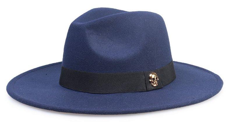 1f10fd97013e1 Chapéu Fedora Azul Marinho Aba Média Caveira Dourada - R  139