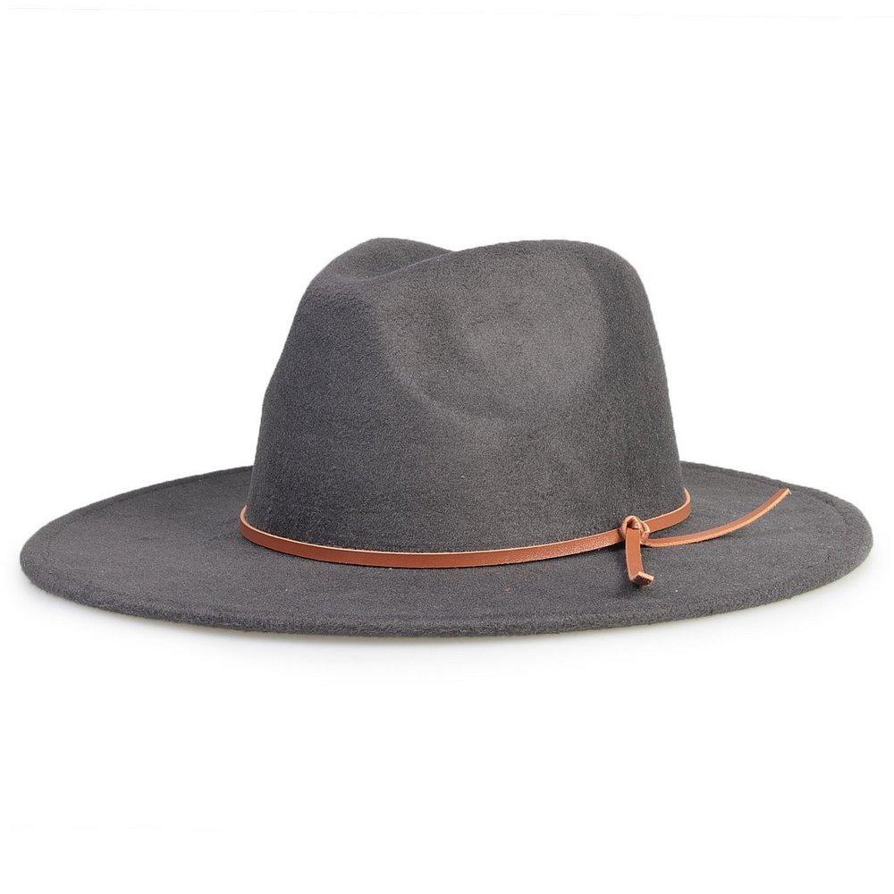 247fb05f5b4cd chapéu fedora cinza grafite aba 8cm couro v caramelo. Carregando zoom.