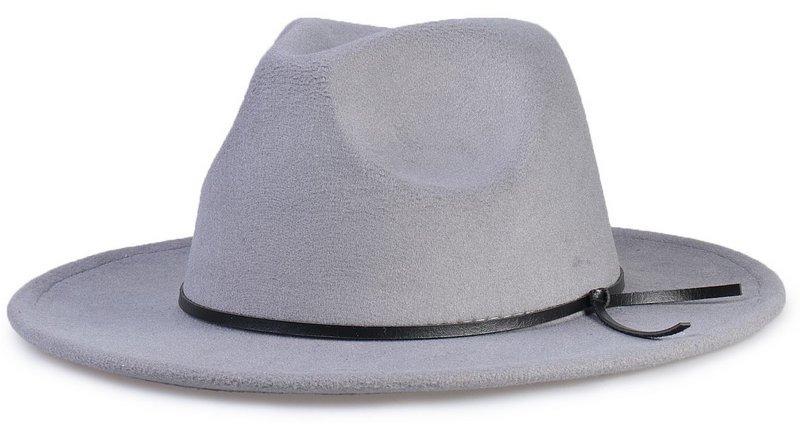 3b64351005e24 chapéu fedora feltro cinza aba grande 8cm couro v preto. Carregando zoom.