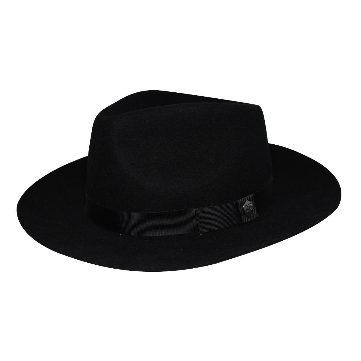 40b8356cd6b8a chapéu fedora feltro preto aba grande faixa lisa top-tam 59. Carregando zoom .