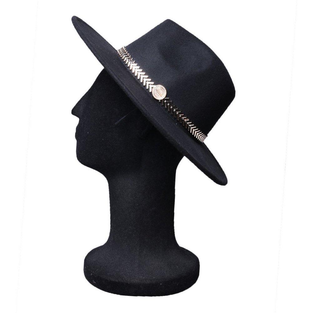 368c4c5d35bcd chapéu fedora feminino aba reta faixa especial metalizada. Carregando zoom.