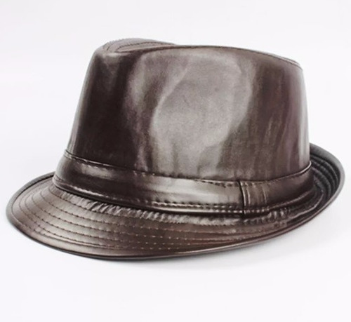 chapéu fedora leather couro sintético excelente qualidade
