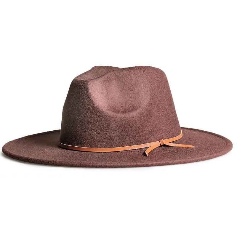 chapéu fedora marrom aba 8cm couro v caramelo. Carregando zoom. e803ee948ef