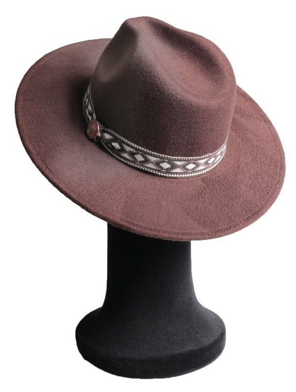 Chapéu Fedora Marrom Masculino Aba 8cm Grande Faixa Incas - R ... 500c78b36fc
