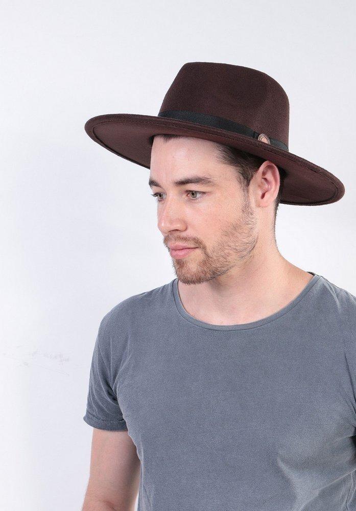 f179815f2d chapéu fedora marrom masculino aba reta grande 8cm. Carregando zoom.