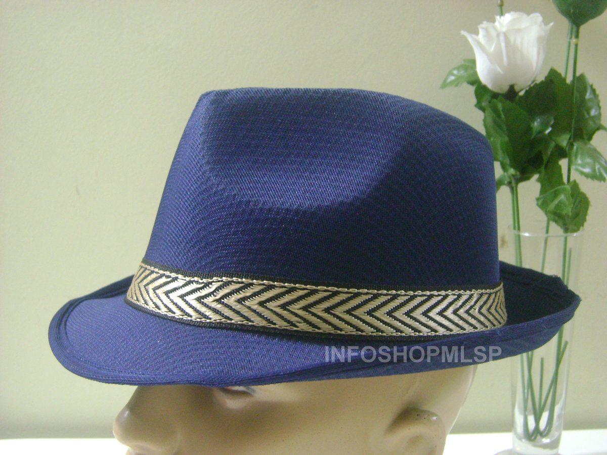 chapéu fedora panamá - azul marinho fita preta e dourada. Carregando zoom. 86a3e0dad5d