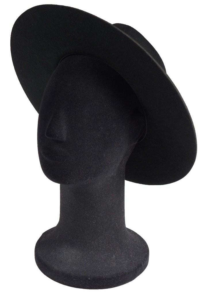 444f729056 chapéu fedora preto 100% lã aba grande 10 cm. Carregando zoom.