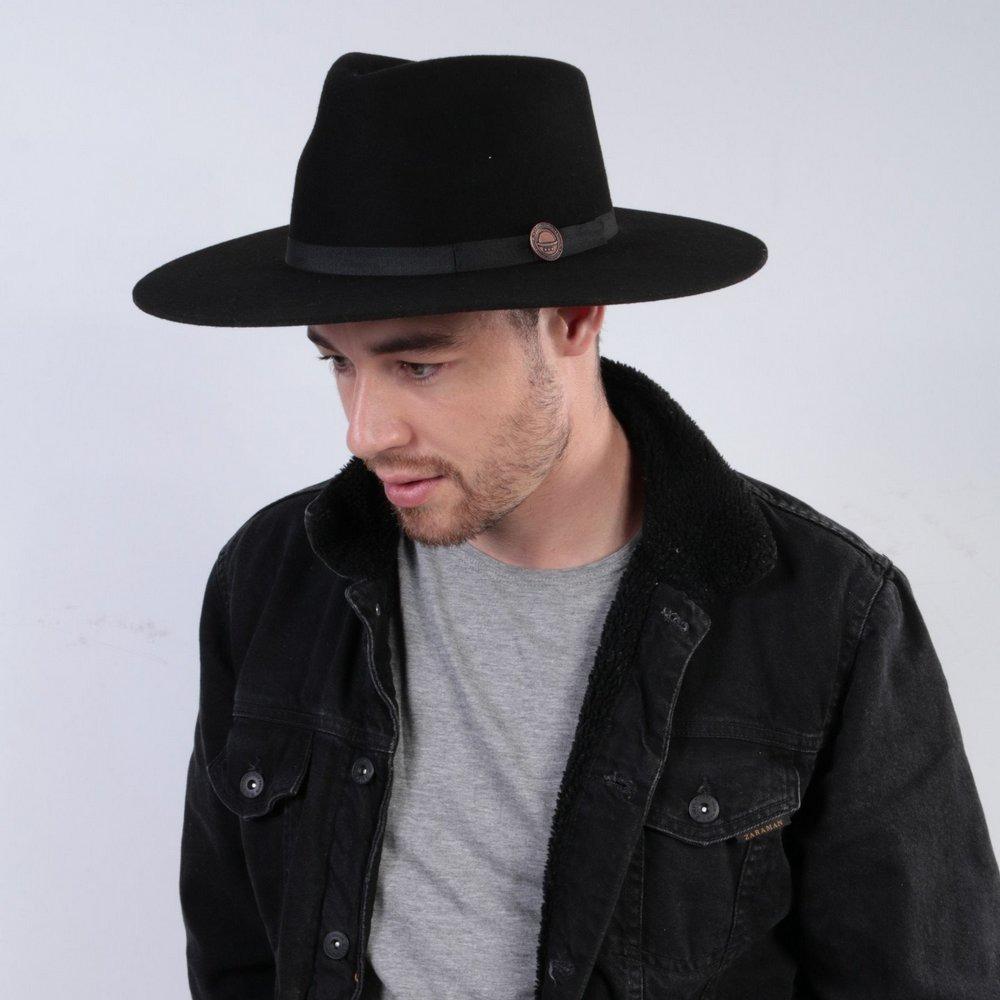 ad8227a1a052c chapéu fedora preto 100% lã aba grande 10 cm. Carregando zoom.