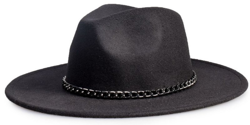 d0cc760b78912 chapéu fedora preto aba 8cm corrente grafite. Carregando zoom.