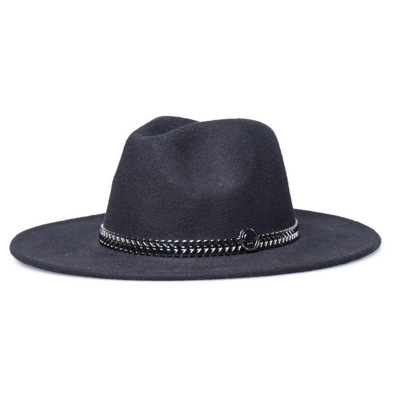 chapéu fedora preto aba 8cm faixa metalizada grafite. Carregando zoom. 275f3819906